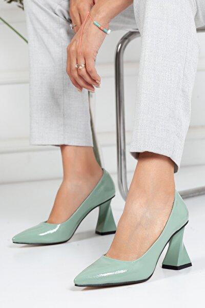 , Özel Üretim, Tarz Topuk, Su Yeşili Kırışık Rugan Lüks Stiletto, Kadın