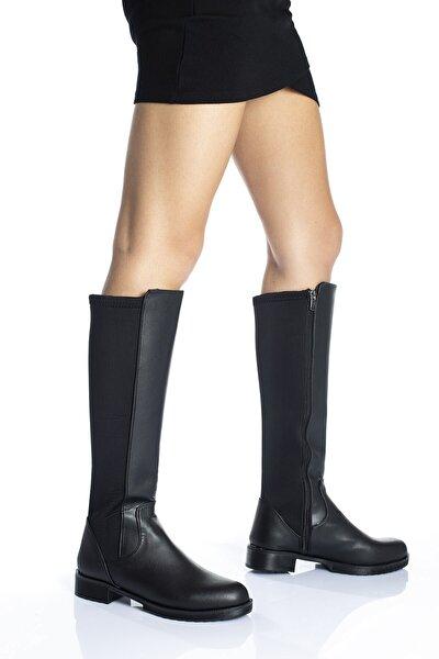 Kadın Siyah Dalgıç Kumaş Detaylı Esnek Dizaltı Çizme