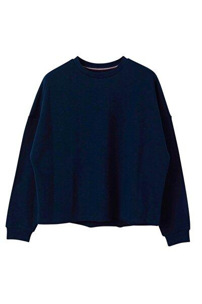 Oversized Basic Lacivert Sweatshirt