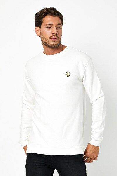 Unisex Oversize Diagonal Kumaş Nakışlı 3 Iplik Sweatshirt Beyaz