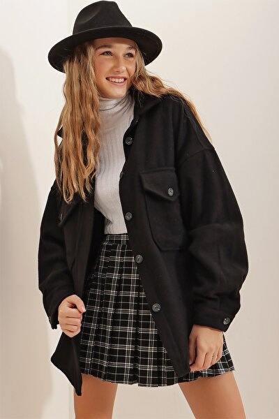Kadın Siyah Kaşe Pamuklu Oversize Ceket Gömlek ALC-X7143