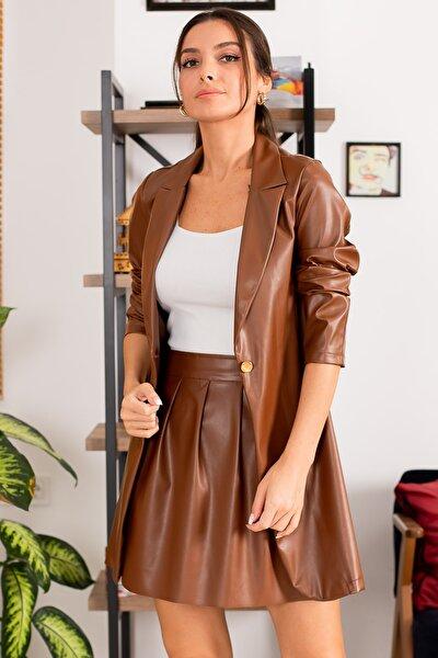 Kadın Taba Tek Düğmeli Deri Uzun Ceket ARM-22K001010