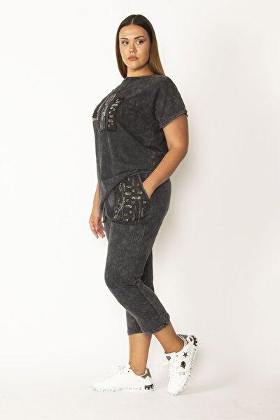 Kadın Siyah Yıkamalı Kumaş Taş Detaylı Bluz Ve Beli Lastikli Cepli Pantolon Takım 65N28122
