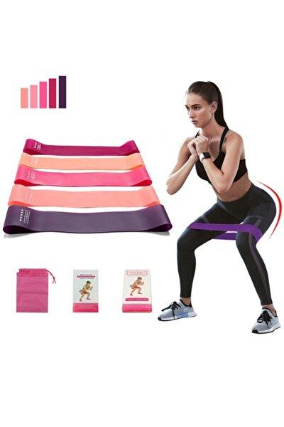 5 Li Farklı Dirençte Squat Bandı Hafif Orta Sert Pilates Aerobik Çalışma Lastiği Egzersiz Fitness