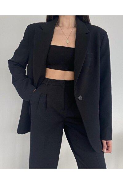 Kadın Siyah Palazzo Ceket Pantolon Takım