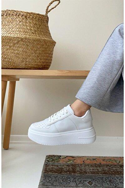 Kadın Beyaz Sneaker Yüksek Tabanlı 5 cm Spor Ayakkabı