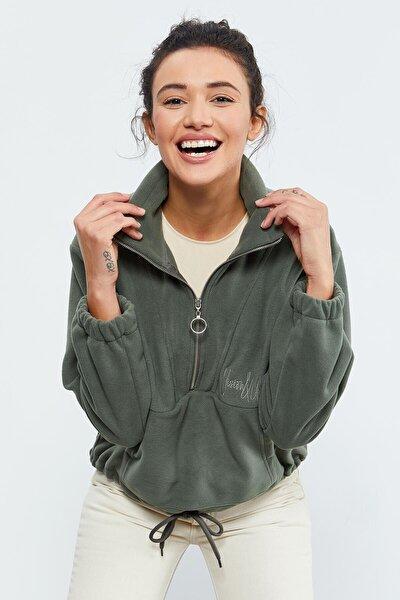 Çağla Kadın Yarım Fermuar Etek Ucu Büzgülü Oversize Polar Sweatshirt  97171