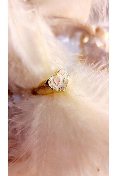 24k Altın Kaplama Beyaz Pembe Leopar Desen Ayarlanabilir Kalp Yüzük