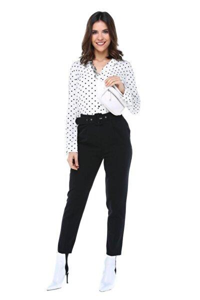 Kemerli Siyah Bilek Kadın Pantolon