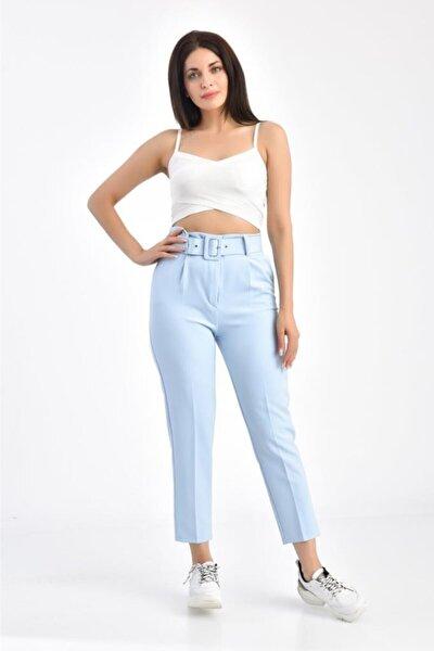 Kemerli Bebe Mavi Bilek Kadın Pantolon