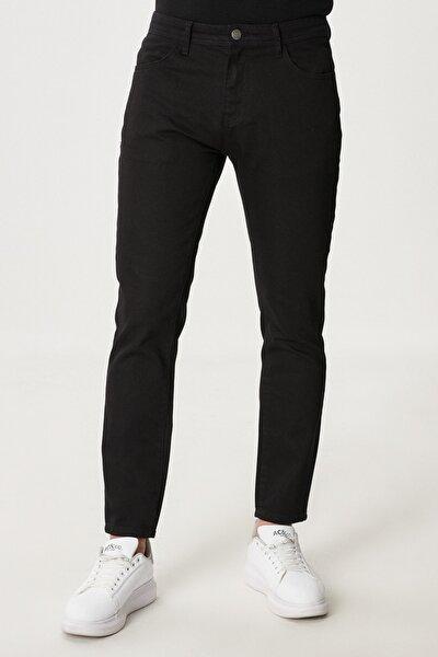 Erkek Siyah Slim Fit Dar Kesim Denim Jean Kot Pantolon