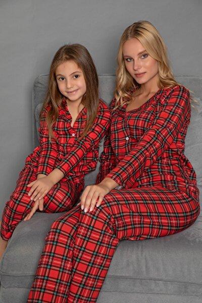 Kadın Desenli Pamuklu Likrali Düğmeli Pijama Takim