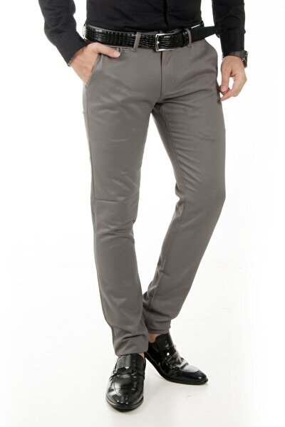 Erkek Gri Örgü Desen Keten Pantolon