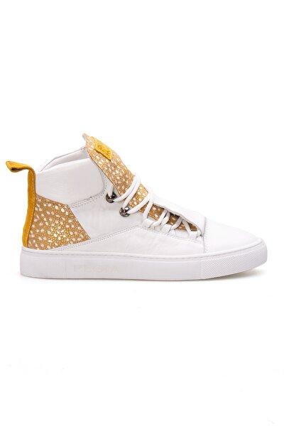 Kadın Sarı Beyaz Hakiki Deri Sneaker Ayakkabı  La1312