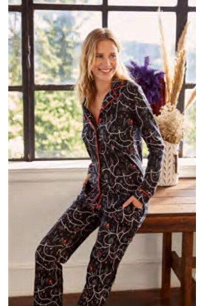 Kadın Siyah Desenli Gömlek Pijama Takımı