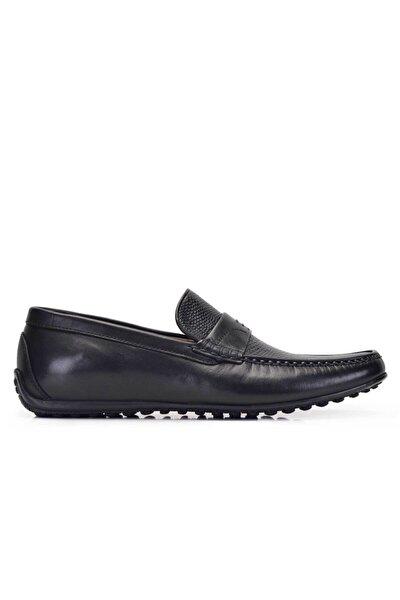 Erkek Siyah Hakiki Deri Günlük Loafer Yazlık Ayakkabı -11561-