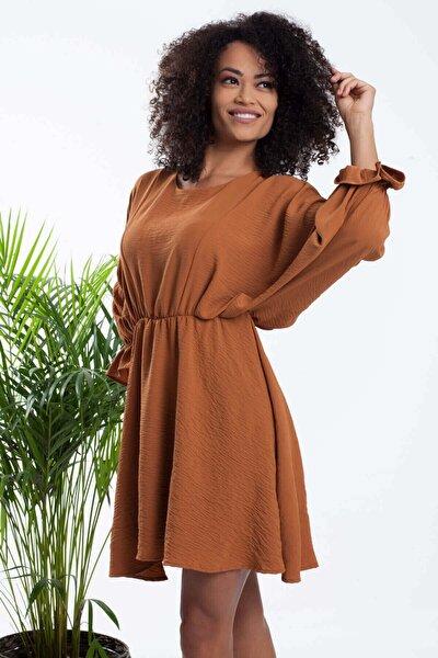 Kadın Taba Yarasa Kol Bel Büzgülü Elbise