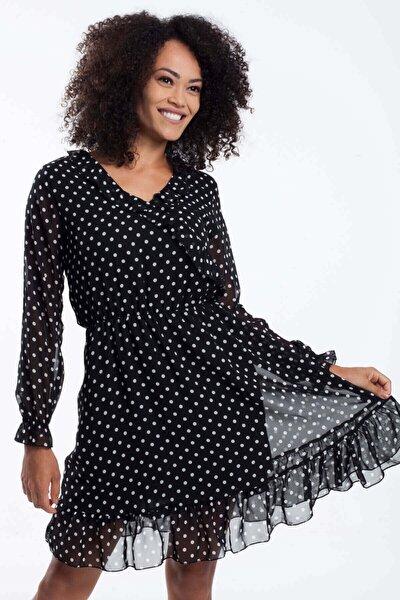 Kadın Siyah Bel Büzgülü Şifon Elbise