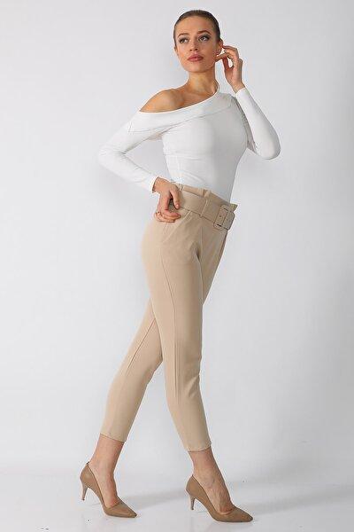 Kadın Bej Kemerli Kumaş Pantolon