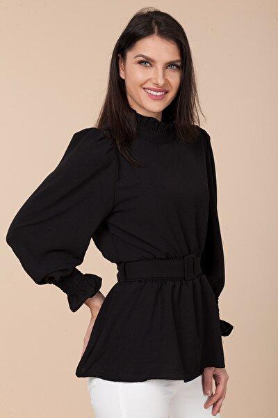 Kadın Siyah Kemerli Bluz