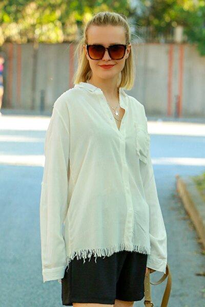 Kadın Beyaz Püsküllü Gömlek Mg617-1