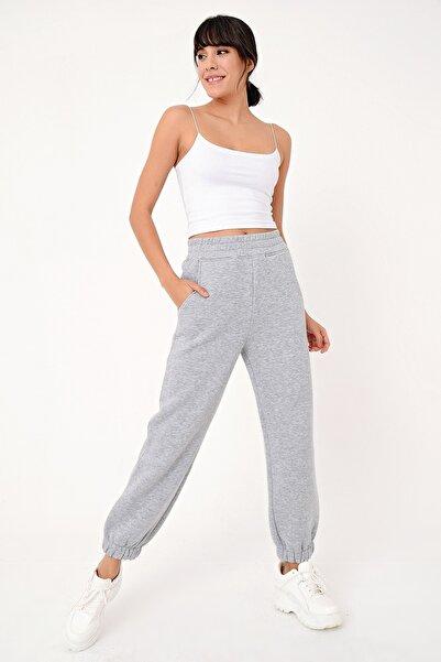 Kadın Gri Mel Paça Lastikli 3 Iplik Şardonlu Jogger Pantolon