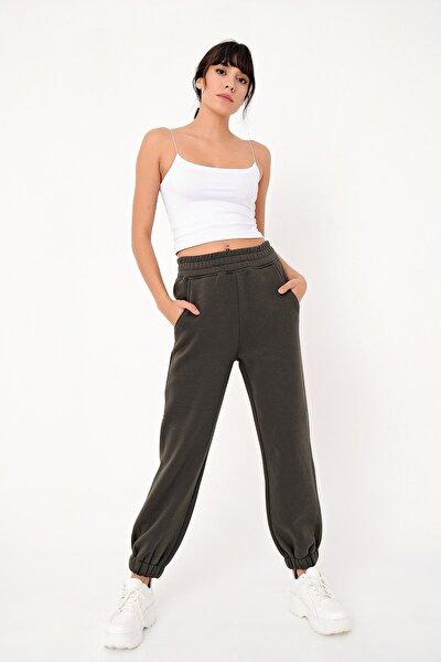 Kadın Siyah Paça Lastikli 3 Iplik Şardonlu Jogger Pantolon