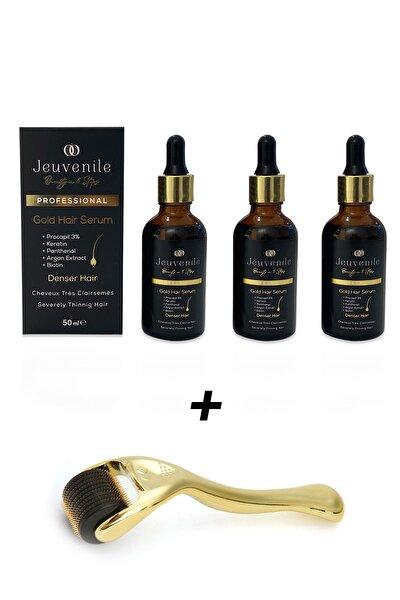 Dökülme Karşıtı Ve Besleyici Yoğunlaştırıcı Altın Saç Serumu 3 Adet + 540 Iğne 1 Mm Dermaroller