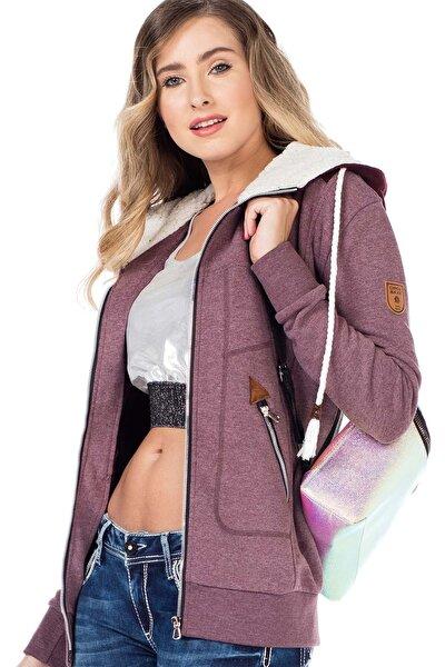 Kadın Bordo Kürk Kapşonlu Fermuarlı Sweatshirt