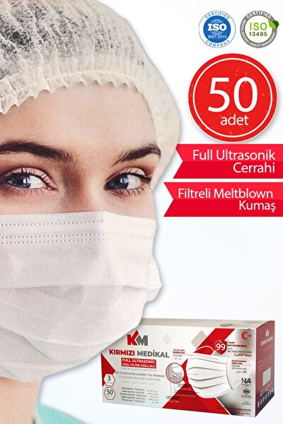 Üts Kayıtlı Meltblown Filtreli Full Ultrasonik Maske Beyaz 50 Adet