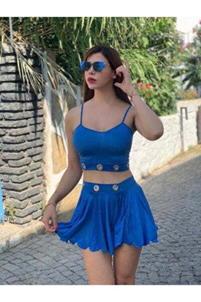 -kadın Mavi Kuşgözü Detaylı Dilimli Etekli Takım