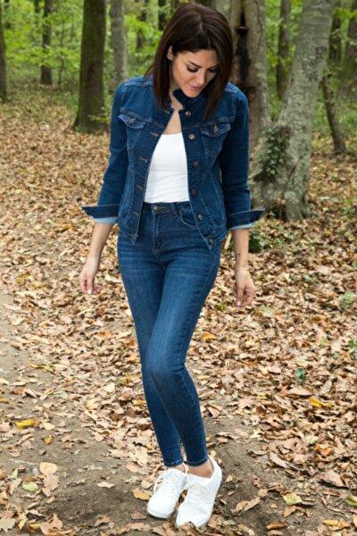 Kadın Koyu Mavi Yüksek Bel Likralı Jean