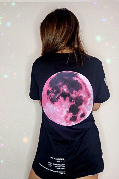 Kadın Siyah Super Moon Oversize Pamuk T-shirt