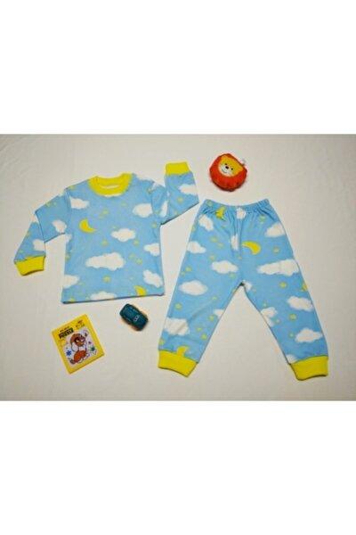 Erkek Bebek Mavi Bulutlu Iyi Uykular Ikili Penye Pijama Takımı