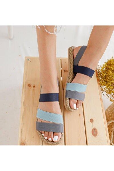 Kadın Gri Şeritli  Sandalet
