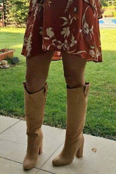 Kadın Taba Western Süet Kalın Topuklu Dizaltı Çizme