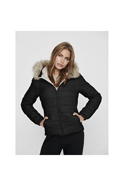 Kadın Siyah Mont Onldogukan Hood Fur Padded 15231669-blk