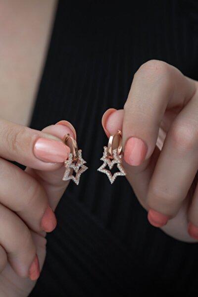 Kadın 925 Ayar Rose Çift Yıldız Küpe Gümüş Küpe
