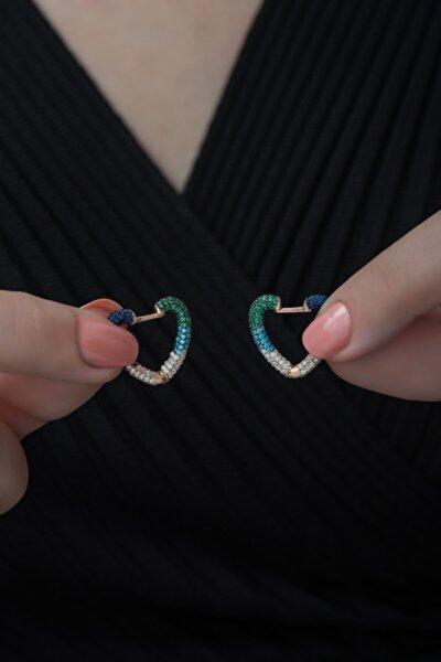 Kadın 925 Ayar Mix Taşlı Kalp Küpe Gümüş Küpe