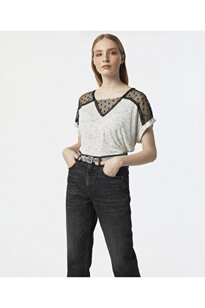 Kadın Ekru Güpür Şeritli Tshirt IS1200070027018