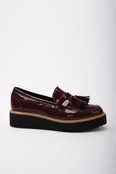 Bordo Kadın Loafer Ayakkabı 01AYY191990A780
