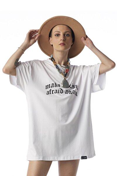 Kadın Beyaz Baskılı Owersize Örme T-shirt
