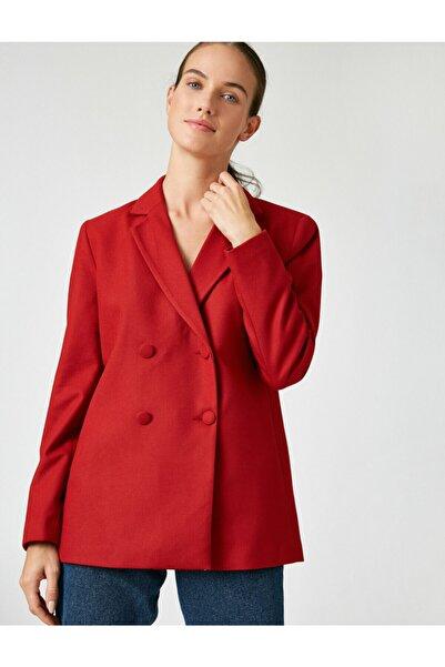 Kadın Bordo Dügme Detayli Blazer Ceket
