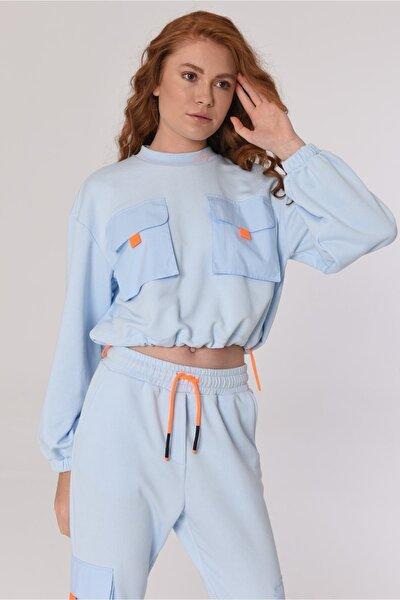 Kadın Mavi Yan Cepli Rahat Pantolon