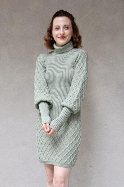 Kadın Su Yeşili Etek Dokulu Balıkçı Elbise