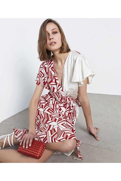 Kadın Kiremit Desenli Anvelop Elbise
