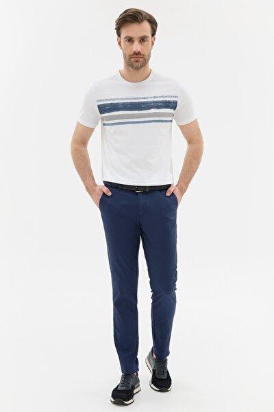 Erkek Koyu Mavi Slim Fit Chino Pantolon