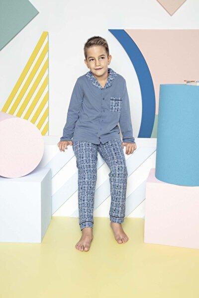 Erkek Çocuk Mavi Boydan Düğmeli Organik Pamuklu Garson Pijama Takımı