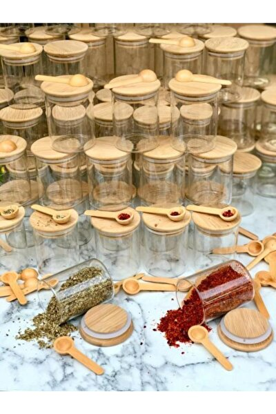 Bambu Kapaklı Vakumlu Borosilikat Cam 12 Adet Kavanoz Ve 12adet Kaşık 24 Parça