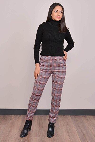 Kadın Bordo Yüksek Bel Ekose Pantolon